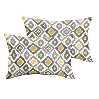 Selena Grey/ Gold Diamonds Indoor/ Outdoor Knife-Edge Lumbar Pillows (Set of 2)