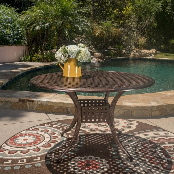 Shop Sebastian Outdoor Cast Aluminum Round Dining Table ...