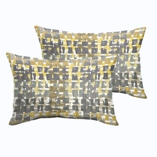 Selena Grey Gold Squares Indoor/ Outdoor Knife-Edge Lumbar Pillows (Set of 2)