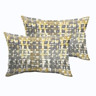 Selena Grey Gold Squares Indoor/ Outdoor Knife-Edge Lumbar Pillows (Set of 2)