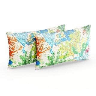 Selena Blue Green Seascape Indoor/ Outdoor Knife-Edge Lumbar Pillows (Set of 2)
