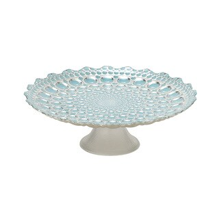 Glass Footed Blue Plate 13-inch x 4-inch Accent Piece