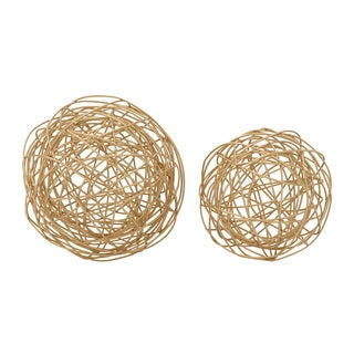 Whimsical Set of Two Metal Wire Orb 8-inch/ 6-inch Accent Piece