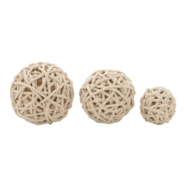 Cotton Rope Ball Set of 3 4-inch/ 7-inch/ 8-inch Deep Accent Piece
