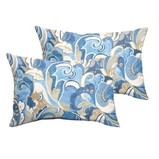 Selena Blue Grey Abstract Indoor/ Outdoor Knife-Edge Lumbar Pillows (Set of 2)
