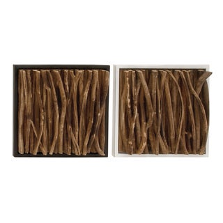 Teak Twig Wall Panel 2 Assorted 14-inch x 14-inch Accent Piece
