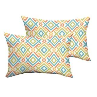 Selena Blue Green Geometric Indoor/ Outdoor Knife-Edge Lumbar Pillows (Set of 2)