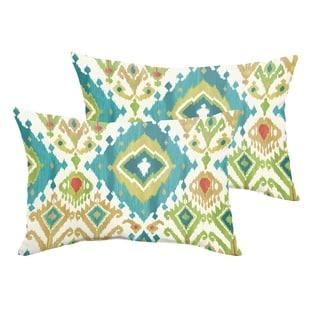 Selena Blue Green Ikat Indoor/ Outdoor Knife-Edge Lumbar Pillows (Set of 2)