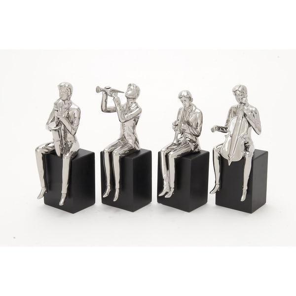 Gleaming Ceramic Wood Musician Set of Four 5-inch x 14-inch Accent Piece