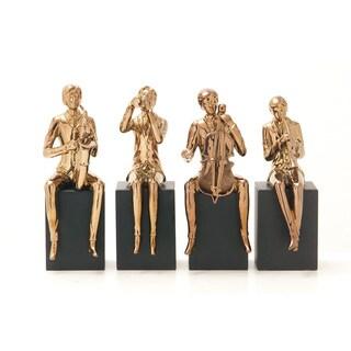 Ceramic Copper Music Figure Set of Four 5-inch x 13-inch Accent Piece