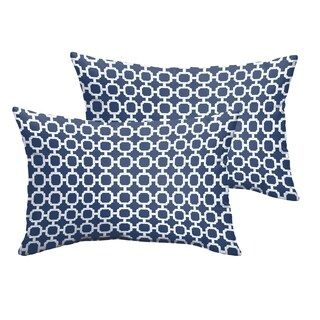Selena Navy Chainlink Indoor/ Outdoor Knife-Edge Lumbar Pillows (Set of 2)
