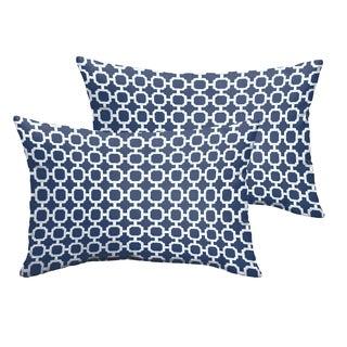 Selena Navy Chainlink Indoor/ Outdoor Knife-Edge Lumbar Pillows (Set of 2)