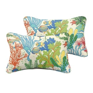 Selena Blue Green Seascape Indoor/ Outdoor Corded Lumbar Pillows (Set of 2)