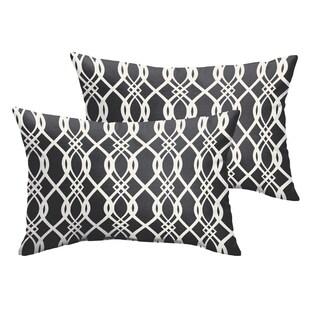 Selena Wavy Black Indoor/ Outdoor Knife-Edge Lumbar Pillows (Set of 2)