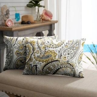 Selena Grey Gold Paisley Indoor/ Outdoor Knife-Edge Lumbar Pillows (Set of 2)