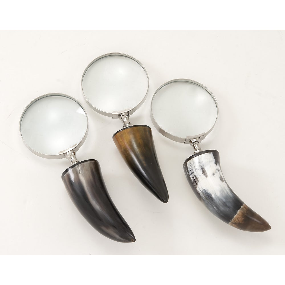 Brass Horn Magnify Glass 3 Assorted 3-inch x 8-inch Accent Piece