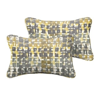 Selena Grey Gold Squares Indoor/ Outdoor Corded Lumbar Pillows (Set of 2)
