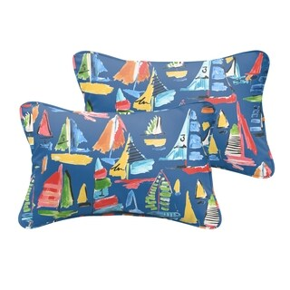 Selena Blue Sailboats Indoor/ Outdoor Corded Lumbar Pillows (Set of 2)