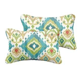 Selena Blue Green Ikat Indoor/ Outdoor Corded Lumbar Pillows (Set of 2)