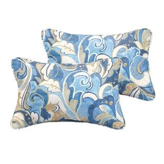 Selena Blue Grey Abstract Indoor/ Outdoor Corded Lumbar Pillows (Set of 2)
