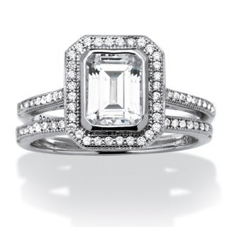 1.76 TCW Emerald-Cut Cubic Zirconia Platinum over Sterling Silver 2-Piece Halo Bridal Ring