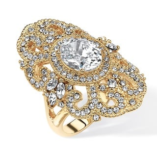 2.54 TCW Oval-Cut Cubic Zirconia and Crystal Vintage-Style Cocktail Ring in 14k Gold-Plate