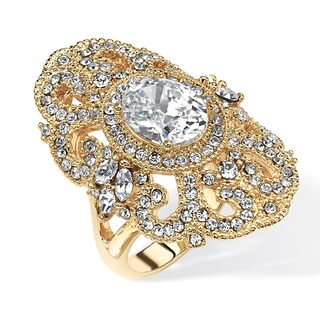 Yellow Gold-plated Cubic Zirconia with Marquise Crystals Ring - White