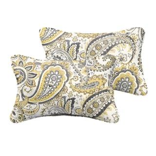 Selena Grey Gold Paisley Indoor/ Outdoor Corded Lumbar Pillows (Set of 2)