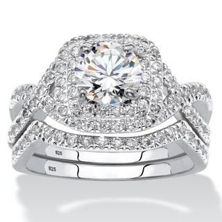 Platinum over Sterling Silver Cubic Zirconia Bridal Ring Set - White