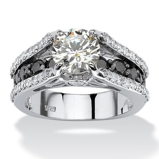 4.01 TCW Black and White Round Cubic Zirconia Engagement Ring in Platinum over Sterling Si