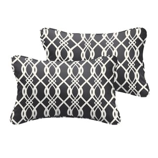 Selena Wavy Black Indoor/ Outdoor Corded Lumbar Pillows (Set of 2)