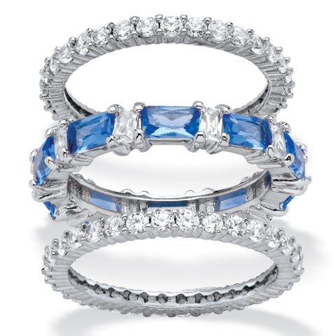 Platinum-plated Cubic Zirconia and Sapphire Eternity Ring Set - Blue/White