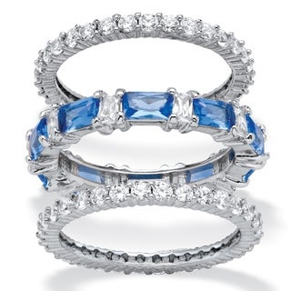 3.24 TCW Cubic Zirconia and Blue Emerald-Cut Crystal 3-Piece Eternity Ring Set Platinum-Pl