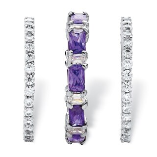 PalmBeach 3.24 TCW Cubic Zirconia and Emerald-Cut Purple Crystal 3-Piece Stackable Ring Set Platinum-Plated Classic CZ