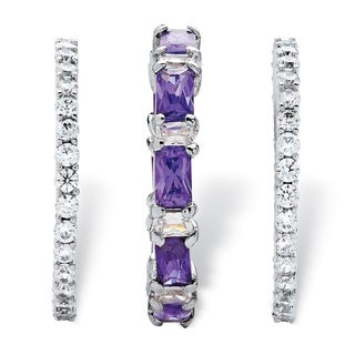 3.24 TCW Cubic Zirconia and Emerald-Cut Purple Crystal 3-Piece Stackable Ring Set Platinum
