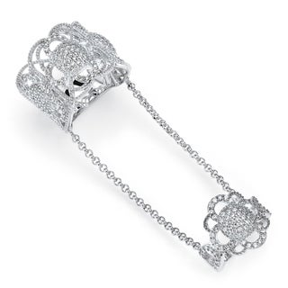 1.69 TCW Micro-Pave Cubic Zirconia Vintage-Inspired Floral Motif Knuckle Ring in Sterling