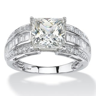 PalmBeach 2.94 TCW Square-Cut and Step-Top Baguette Cubic Zirconia Engagement Ring in 10k White Gold Classic CZ