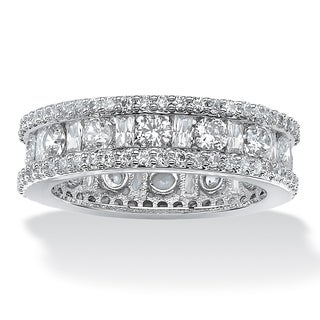 3.22 TCW Round and Baguette-Cut Cubic Zirconia Eternity Channel Ring Platinum over Sterlin