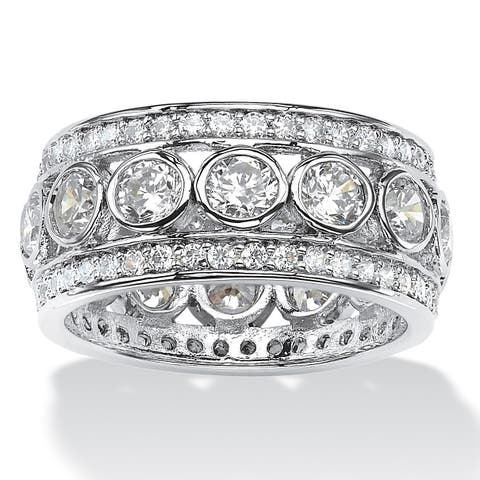 Platinum over Sterling Silver Cubic Zirconia Eternity- Bridal Ring - White