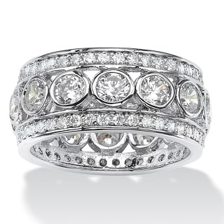 4.70 TCW Round Bezel-Set Cubic Zirconia Eternity Ring in Platinum over Sterling Silver Gla