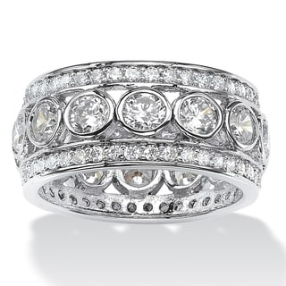 Link to Platinum over Sterling Silver Cubic Zirconia Eternity- Bridal Ring - White Similar Items in Rings