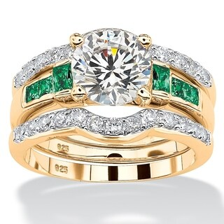 PalmBeach 2.39 TCW Cubic Zirconia and Green Crystal Three-Piece Bridal Ring Set 18k Gold over Sterling Silver Glam CZ
