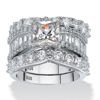 PalmBeach 6.18 TCW Princess-Cut Cubic Zirconia Three-Piece Bridal Ring Set in Platinum over Sterling Silver Glam CZ