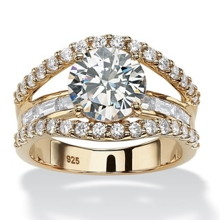 PalmBeach 4.46 TCW Round Cubic Zirconia Bridge Engagement Ring in 18k Yellow Gold over Sterling Silver Glam CZ