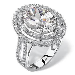 7.08 TCW Oval Cubic Zirconia Double Halo Engagement Ring in Platinum over Sterling Silver