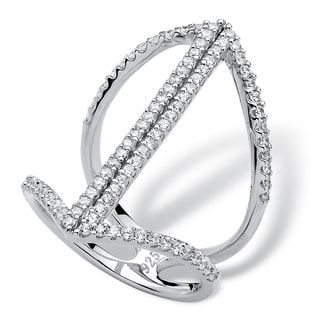 .92 TCW Micro-Pave Cubic Zirconia Mirror Image Ring in Sterling Silver Bold Fashion