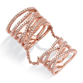 1 TCW Micro-Pave Cubic Zirconia Multi-Row Crossover Knuckle Ring Rose Gold-Plated Bold Fas