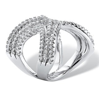 2.10 TCW Micro-Pave Cubic Zirconia Crisscross Chevron Ring in Sterling Silver Bold Fashion