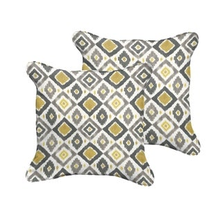 Selena Grey/ Gold Diamonds Indoor/ Outdoor Corded Square Pillows (Set of 2)