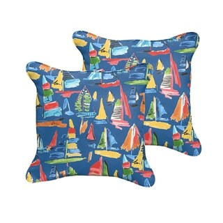 Selena Blue Sailboats Abstract Indoor/ Outdoor Corded Square Pillows (Set of 2)